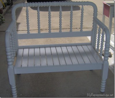 white bench made from jenny lind bed