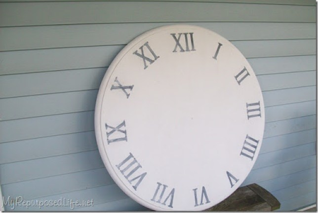 faux clock whitewashed