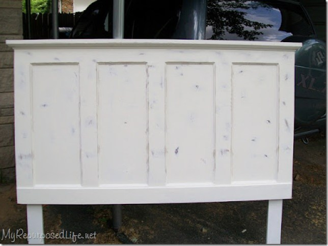 distressed headboard made from a door