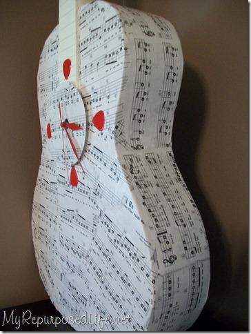 decoupaged guitar clock