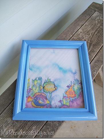 blue framed dry erase board