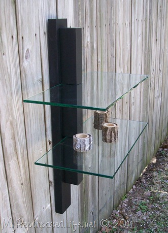 black wood glass shelf