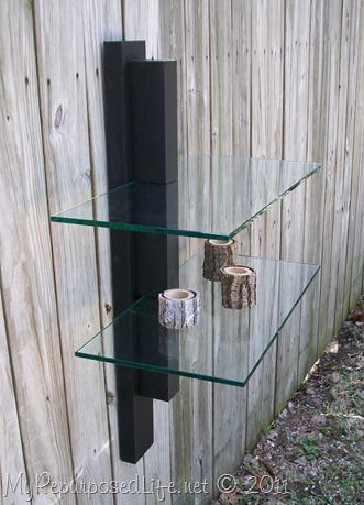 black wood glass shelf