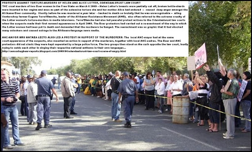 LotterWomenMurdersMar62009OdendaalsrustCourtProtestsANC_for_Murderers_Boers_Against