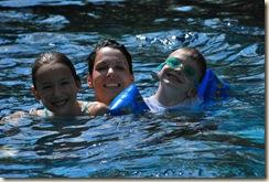 terri and kids in pool