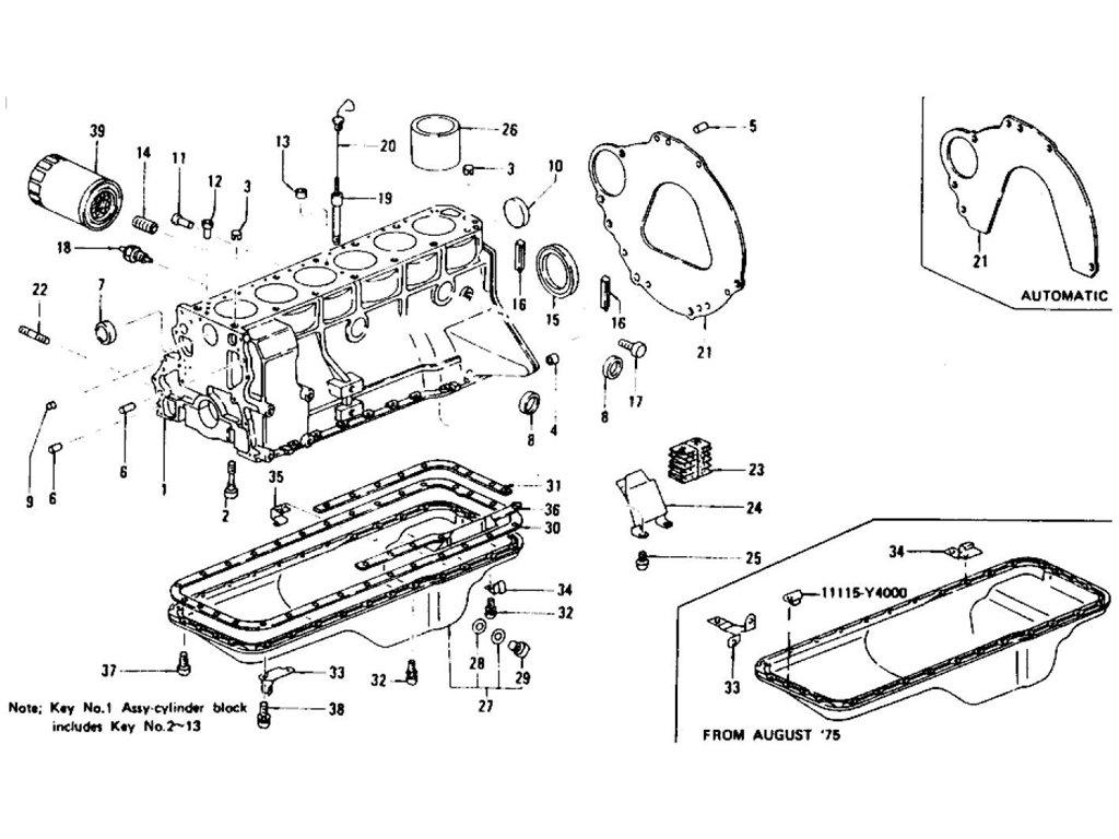 Datsun 280z Cylinder Block Oil Pan Amp Oil Filter Element L28e