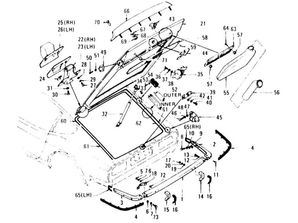 Datsun 240z Tail Gate Panel Trim Lock Amp Rear Bumper To