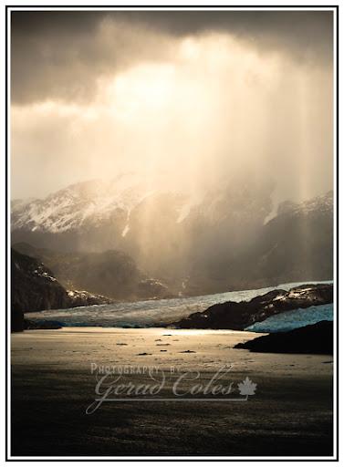 First view of Glacier Grey, under stormy skies