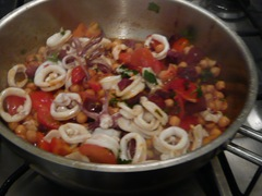 squid chorizo chick peas