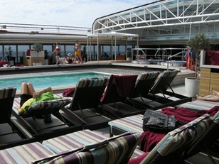 pool deck in the morning.  Everyone is elsewhere on this cool sea day