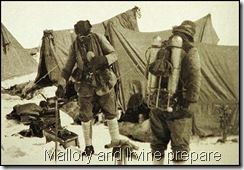 George Mallory and Andrew Irvine preparing to leave their camp near Everest in 1924.
