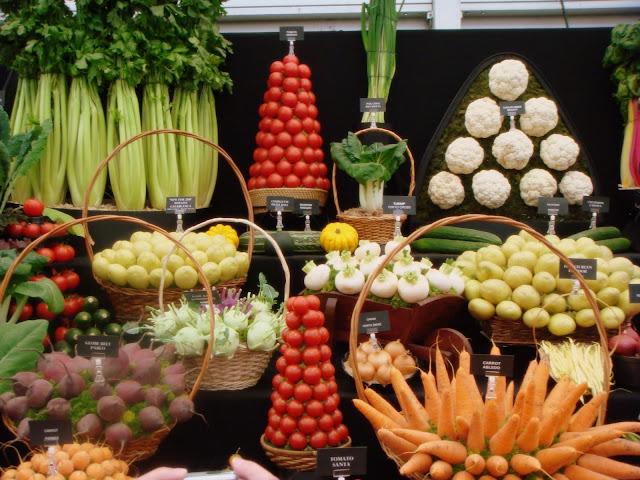 Beautiful vegetable arrangement at Chelsea Flower Show