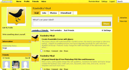 Yellow-facebook-theme