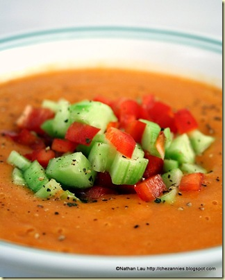 heirloom tomato gazpacho garnished