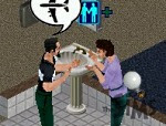 The Sims, where you can chat in the bathroom!