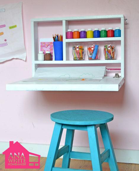 flip down wall art desk ana white