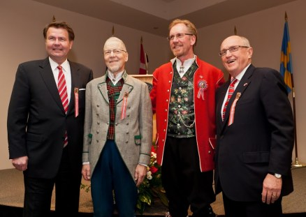 From left: Kim Nesselquist, Audun Toven, Knut Brakstad and President Loren J. Anderson pose for a photo after the announcement of the Svare-Toven Professorship in Norwegian and Scandinavian Studies at Pacific Lutheran University during the Syttende Mai (Norwegian Constitution Day) celebration Tuesday, May 17, 2011. Photo: John Froschauer/PLU