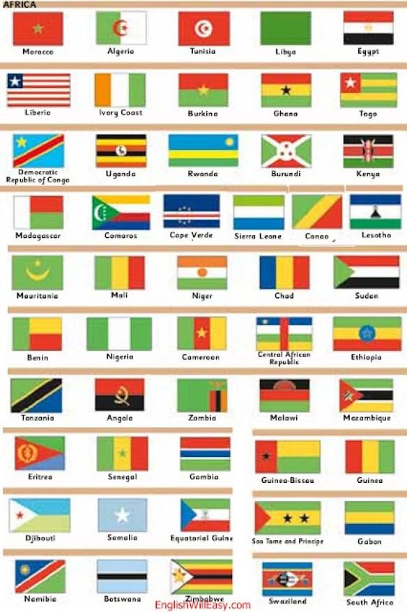أفريكا ماروكيكوس ، أرغليا ، تونيس ، ليبيا ، إغيبتو ، غينيا بيساو ، غينيا ، سييرا ليونا ، ليبريا ، كوستا دي مارفيل ، بوركينا ، غانا ، توغو سانتو تومي ي برينسيبي ، الغابون ، جمهورية الكونغو الديمقراطية ، أوغندا ، رواندا ، بوروندي ، كينيا سوازيلنديا ، سودافريكا ، ليسوتو ، مدغشقر ، جزر القمر ، كابو فيردي ، موريتانيا ، مالي ، نيغر ، تشاد ، سودان ، إريتريا ، السنغال ، غامبيا ، بنين ، نيجيريا ، الكاميرون ، ريبوبليكا سنترافوريكانا ، إيتوبيا ، جيبوتي ، الصومال ، غينيا ، الإكوادور التنزاني ، أنغولا ، زامبيا ، ملاوي ، موزامبيق ، ناميبيا ، بوتسوانا ، زمبابوي ،