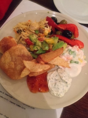 More chips, sour cream and salad