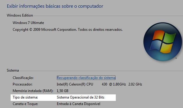 Sistema operacional de 32-bit, baixe a versão 32-bit