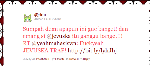 Screenshot Tweet @Ridu tentang Jevuska