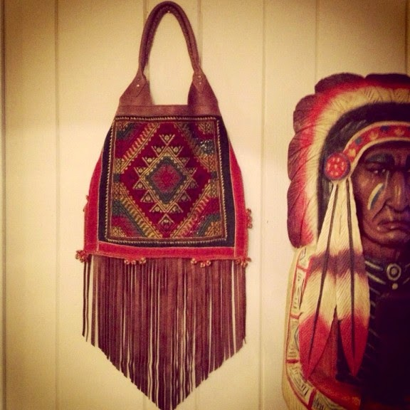 Hmong Embroidered Diamond Leather Fringe Tote Bag Purse