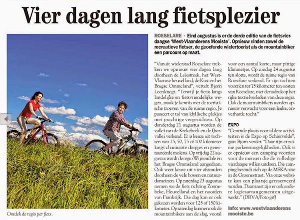 West-Vlaanderens Mooiste: 4 dagen lang fietsplezier - De Streekkrant 2014