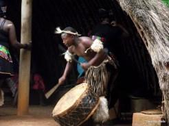 Drumming away at the PheZulu Safari park cultural show.