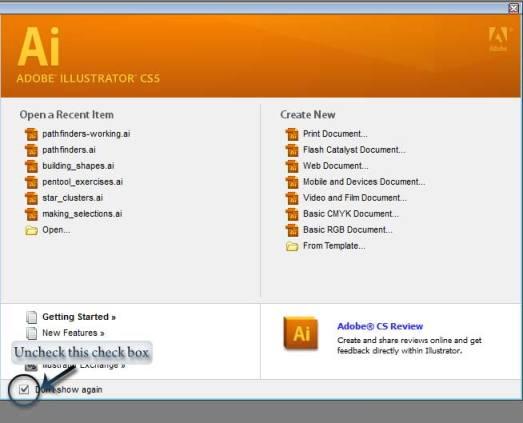 Adobe Illustrator Welcome Screen