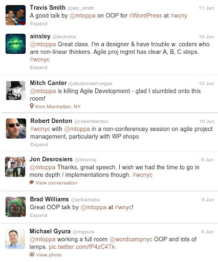 Tweets about my WordCamp NYC presentations