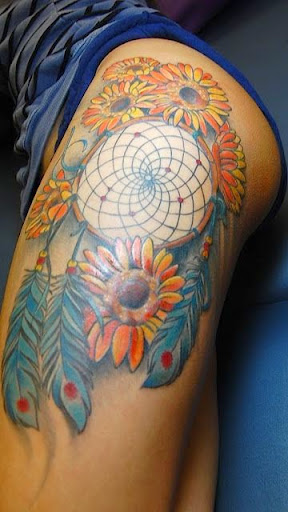 sunflower with Dreamcatcher Tattoos on thigh