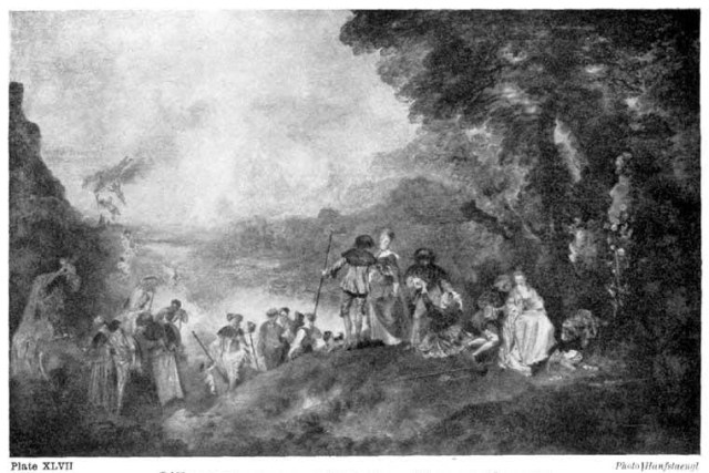 Plate XLVII. L'EMBARQUEMENT POUR CYTHÈRE. WATTEAU (LOUVRE) A typical example of composition founded on gradated tones. (See analysis on opposite page.) Photo Hanfstaengl