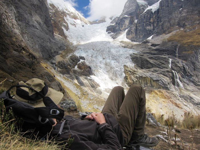 Taking a siesta break during the Huayhuash Trek