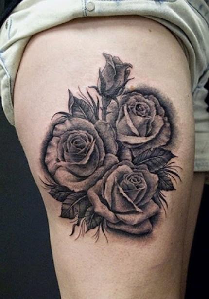 rose tattoos on thig