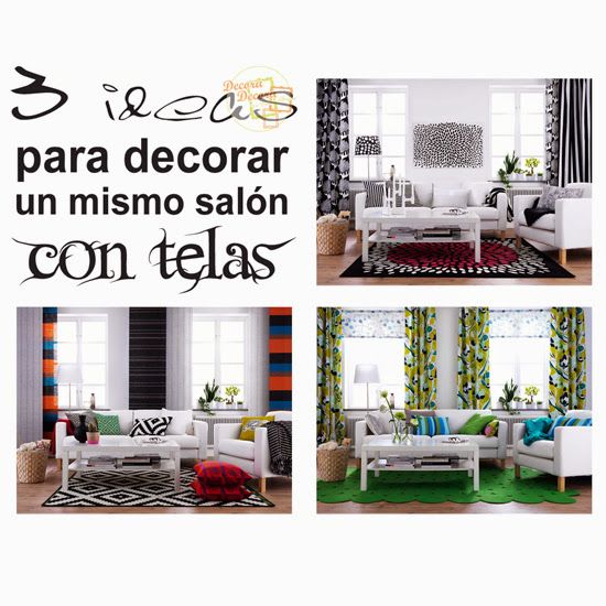 Tres ideas para decorar un mismo salón.