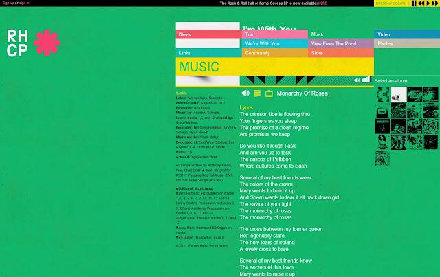 *色彩變化豐富的搖滾樂團網站|Red Hot Chili Peppers Web Site 5