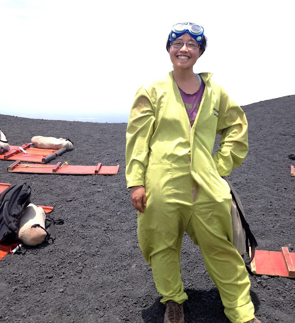 Sexy jumpsuit we get to wear while volcano boarding Cerro Negro