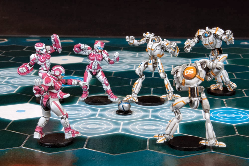 Mantic Games, Dreadball, Juegos de Especialista, blood bowl, juegos de mesa, female corporation, void sirens, humanas, jugadoras corporación, robots, Crying Grumpies