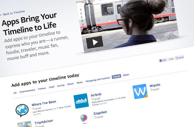 Facebook Timeline y las aplicaciones de viaje
