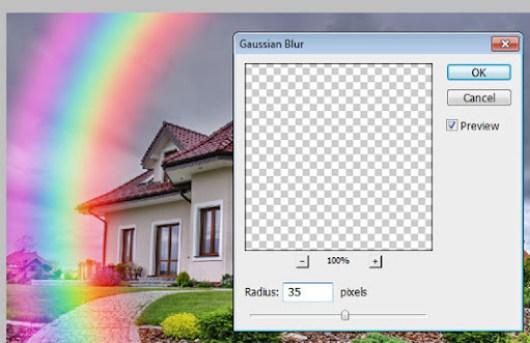 Aplicando o filtro Gaussian Blur no arco-íris