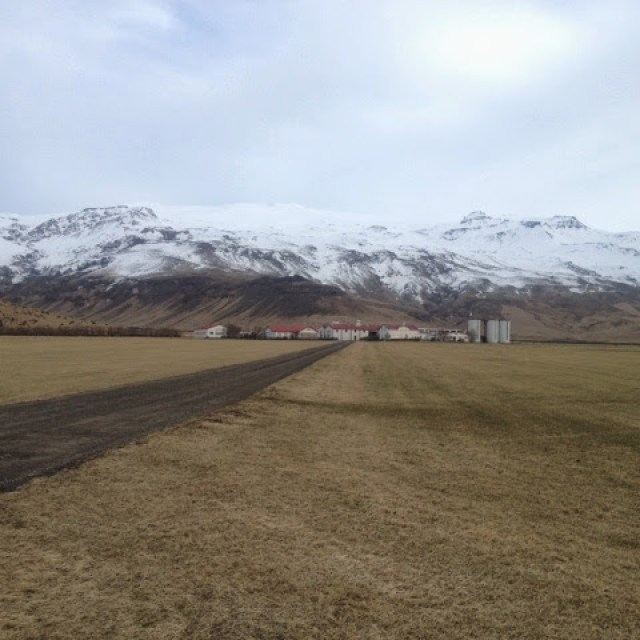 Icelandic country and snow-topped mountains