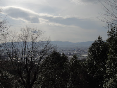 Late afternoon view of Kyoto from a quarter of the way up