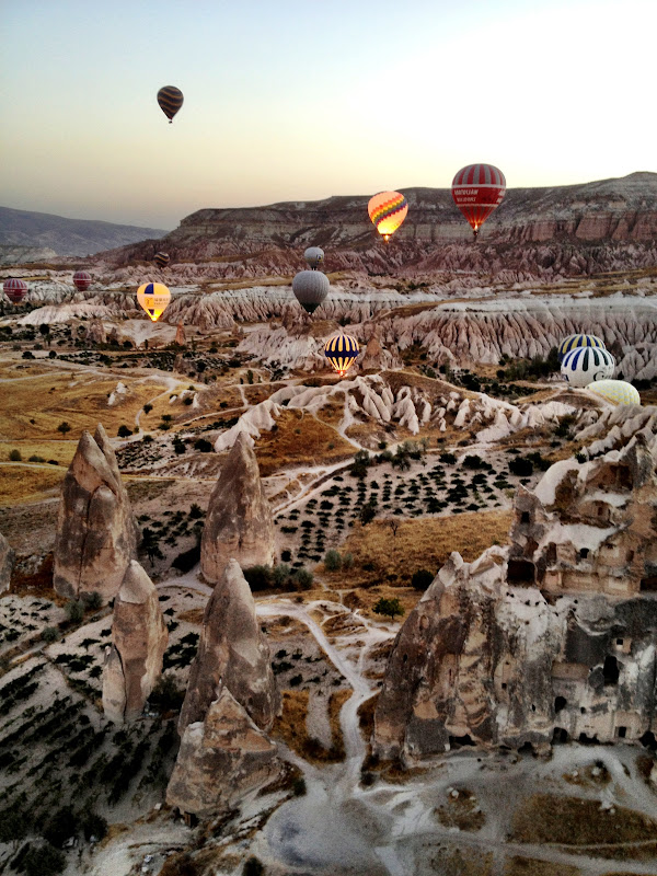 View of Cappadocia from a hot air balloon