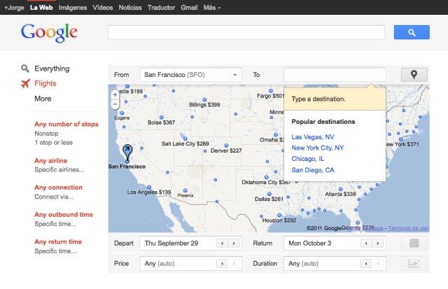 Google y su buscador de vuelos