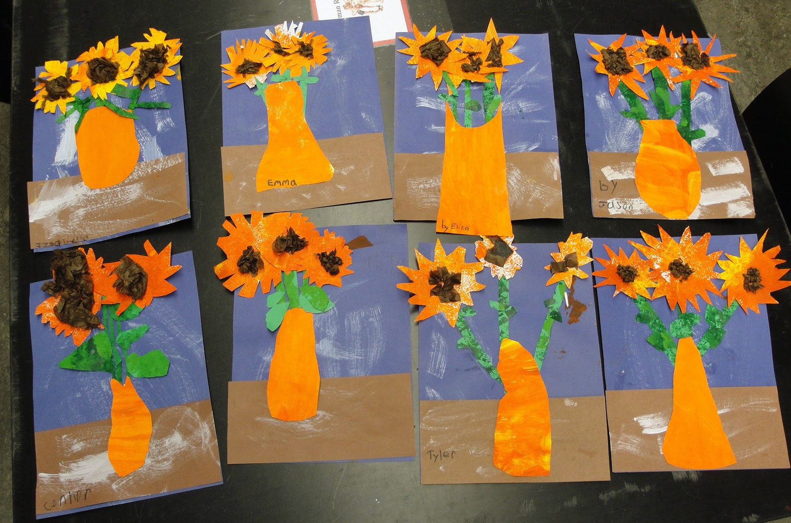 1st Grade Vincent Van Gogh Inspired Sunflowers