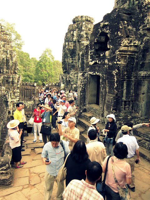 The crowd at Bayon temple, Cambodia