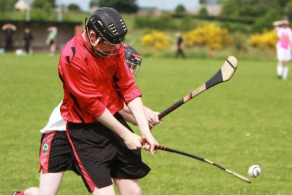 Action during a hurling match at Cloghog, Clonoe - home of Naomh Colum Cille hurling club