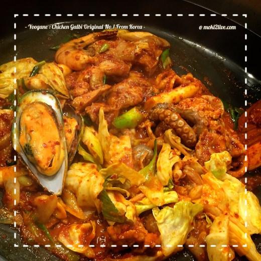 ยูกาเน Yoogane 유가네 ไก่ผัดซอส dak galbi และ ซีฟู้ด