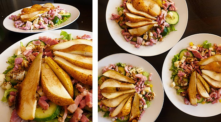 salty-sweet recipe, pear salad, fun recipe idea, what to do with pears, grilled sesame seeds