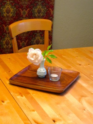 homemaking centerpiece on a tray